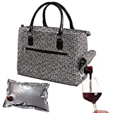 Primeware Insulated Drink Purse w/ 3L Bladder Bag   Thermal Hot and Cold Storage   Portable Drinking Dispenser for Wine, Cocktails, Beer, Alcohol   PU Leather Finish (Black Tweed)