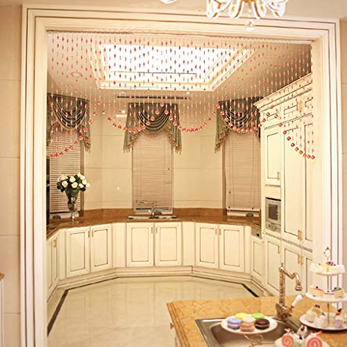 Love zhulian Beaded Curtain Door - Crystal Fan-Shaped Bead Curtain Living Room Bedroom Curtain Decorative Curtain (39 String) (Color : B, Size : W200cm)