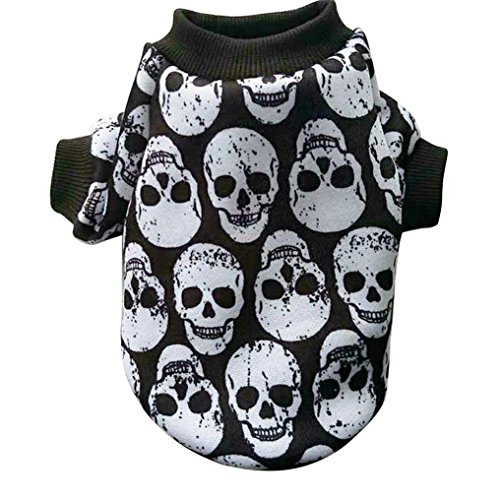 Sunward 2017 Halloween Holiday Fashion Pet Clothes Skull Print Sweater for Dogs Cats (XS, White) -