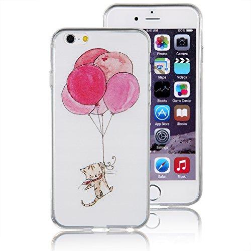 """JewelryWe Schwebende Rote Ballone und süße Katze TPU Silikon Handy Case Schutzhülle Tasche Hülle Rückenschutzhülle Etui für Apple iPhone 6(4,7""""), Weiss"""