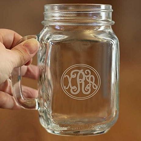 amazon com monogram mason jar 16 oz personalized glass mug gifts