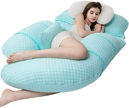 Tomybaby Full Body Adjustable Pregnancy Pillow-50Inch G Shaped Maternity Pillow-Belly Position Gentle Slope Support Pillow Pink Detachable Bamboo Fiber Cover Nursing Pillows