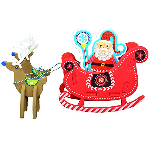 (Big Mo's Toys Holiday Crafts - Christmas Foam Arts N Craft Santa Riding A Reindeer Sleigh Table Top Decorations Kit for Kids)