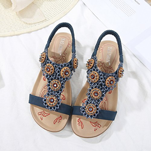 Evedaily Toe Round Elastic Shoes Sandals Rhinestone Bohemian Walking Open Womens Roman Blue Band Flower Flat Heeled rAIXr