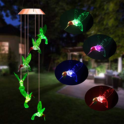Beinhome Solar Hummingbird Wind Chimes, Outdoor Waterproof Mobile Romantic LED Color-Changing Sensor Powered Wind Chimes Lights for Home, Yard, Night Garden, Party, Valentines Gift, Festival Decor ()