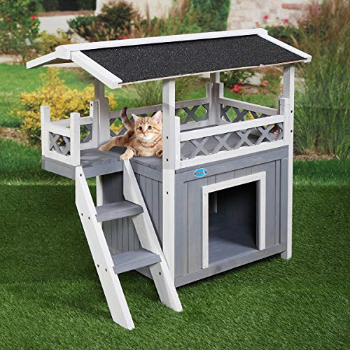 Tobbi Dog House Outdoor Shelter Roof Cat Condo Wood Steps Balcony Puppy Stairs Grey