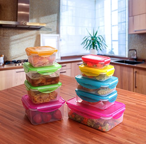plastic food storage containers with lids airtight bpa free by utopia kitchen ebay. Black Bedroom Furniture Sets. Home Design Ideas