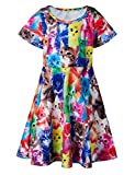 Baby Girls Summer Dress Cute Cat Printed Short Sleeve Casual Dress Kids 2-3 Years