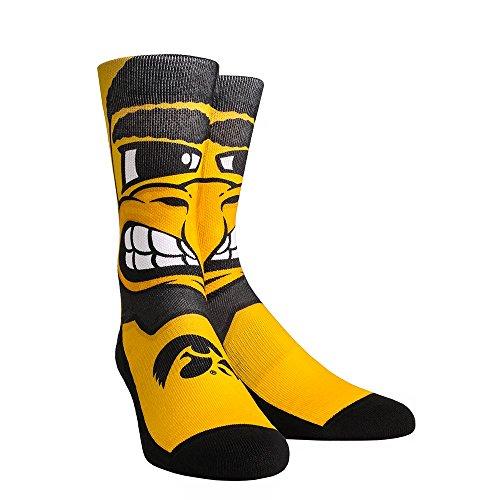 NCAA Iowa Hawkeyes Herky Mascot University Custom Athletic Crew Socks, Large/X-Large, Yellow