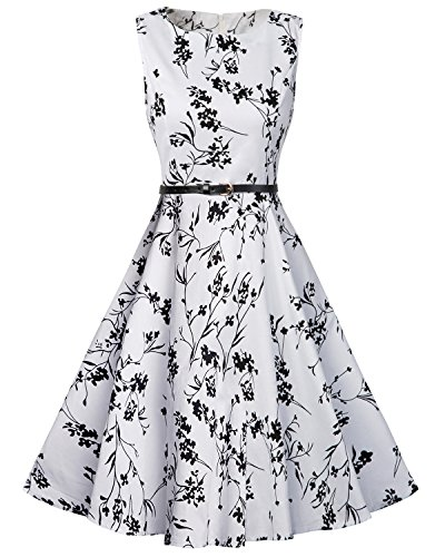 Tempt Me Juniors Vintage Sleeveless Homecoming Prom Cocktail Swing Dress White Medium by Tempt Me