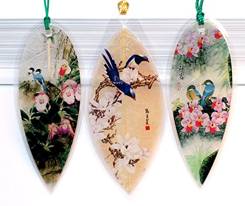 Lucore Leaf Bookmarks - Blue Birds Asian Painting Lucky Charm, Ornament, Hanging & Wall Decor, Art Decoration - 3 Pcs, Made of Real Leaves