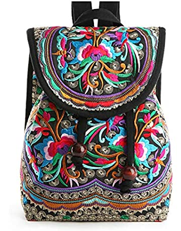 36cea0a0b Embroidery Canvas Backpack Purse for Women, Small Drawstring Casual Travel  Shoulder Bag Daypack