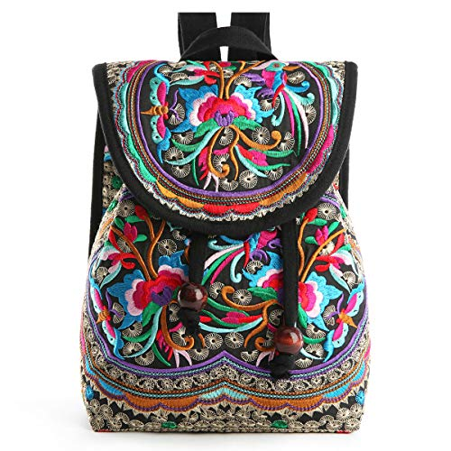 Embroidery Canvas Backpack Purse for Women, Small Drawstring Casual Travel Shoulder Bag Daypack (Red Flowers) (Indian Shoulder Bag)