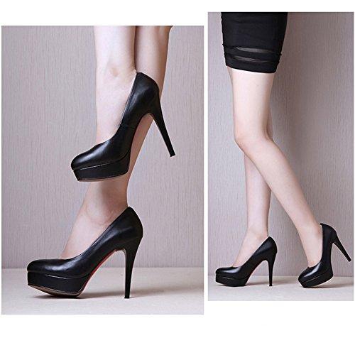 N.Y.L.A. XUERUI Work Dress Flight Attendant Single Shoes Waterproof Platform Fine With Comfortable Yaguan Shoes Round High Heels (Size : EU36/UK4/CN36) by N.Y.L.A. (Image #1)