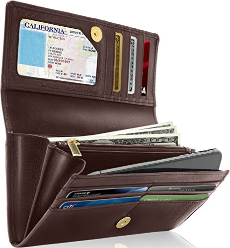 Genuine Leather Wallet For Womens - Ladies RFID Wallets For Women With Removable Checkbook Holder (Mulberry Clutch)