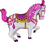 2- Horse Balloon 35 Inch Pink Circus/ Carousel/ Carnival Horse Shaped Foil Merry Go Round