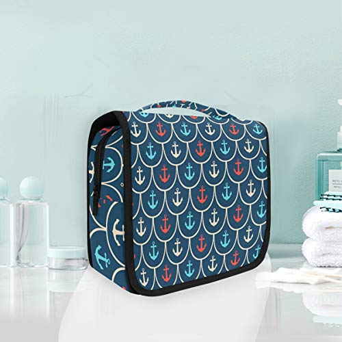 Makeup Bag Cosmetic Storage Bag Ocean Sea Fish Scales Anchor Pattern Toiletry Portable]()