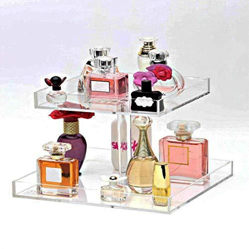 YAGELI Handmade Perfume Display Tray Acrylic Vanity Organizer for Table (Clear, 2 Tier) (Vanity Tray 2 Perfume Tier)