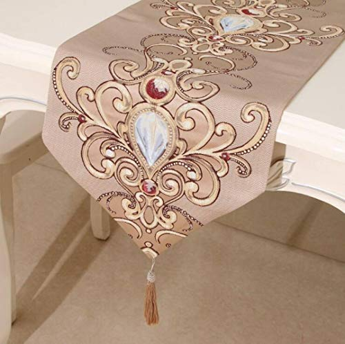 Table Runner Soft Polyester Classical Simple Embroidery Luxury Refined Tassels Reusable No Fade Home Decor -