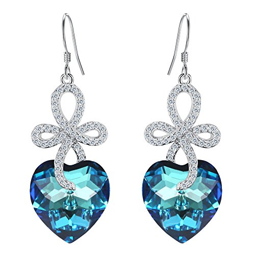 EleQueen 925 Sterling Silver CZ Love Heart Celtic Knot Cross Hook Dangle Earrings Bermuda Blue Made with Swarovski Crystals