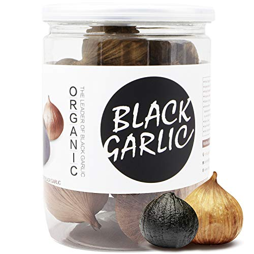 RioRand Organic Black Garlic 170g Whole Black Garlic Aged for Full 90 Days Black Garlic Jar 0.37 Pounds