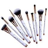 Makeup Brushes, 10pcs Goat Hair Makeup Brush Set for Foundation Brush, Eyebrow Brush, Blush Brush, Goat Hair Make Up Brush Kit
