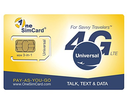 OneSimCard Universal 3-in-one SIM Card for use in Over 200 Countries with $5 credit – Voice, Text and Mobile Data as low as $0.01 per MB. Compatible with All Unlocked GSM Phones. 4G in 50+ Countries. by OneSimCard Universal
