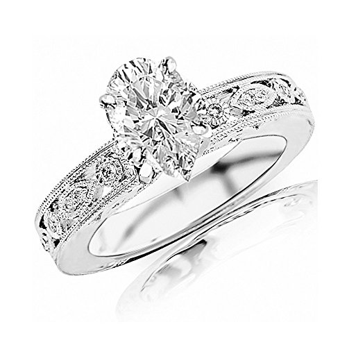 0.68 Ctw 14K White Gold GIA Certified Pear Cut Antique / Vintage Bezel Set Designer Diamond Engagement Ring With Milgrain, 0.5 Ct D-E SI1-SI2 (1/2 Ct Diamond Pear Bezel)