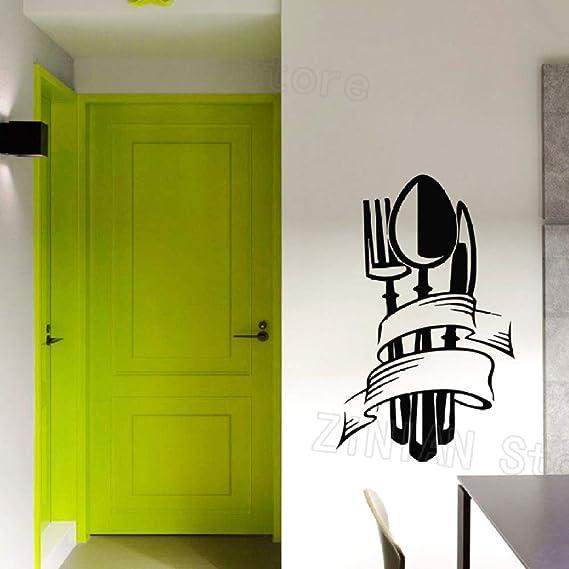 wukongsun Etiqueta de la Pared de la Cocina Cuchillo Cuchara Apliques Tenedor Etiqueta de Vinilo decoración del hogar Sala de Estar Comedor Arte Decorativo Mural Negro 67X42 cm: Amazon.es: Hogar