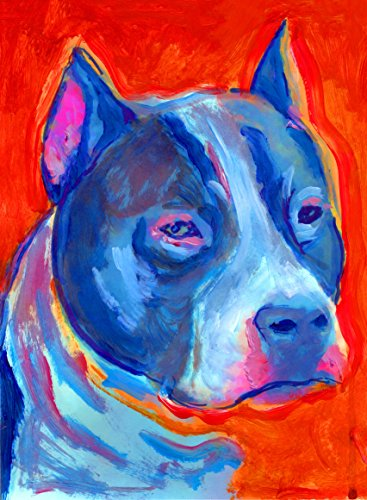 american Staffordshire Terrier Painting Pop Art Print, Colorful Orange and Blue Pitbull Dog Decor, Staffy Owner Gift, Staffie Dog Mom, Dog Wall Art Print, signed by Oscar Jetson