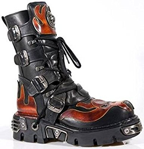 NEWROCK New Rock 107-S1 Red Skull Devil Black Leather Boot Biker Goth Rock Boots wPNOraUw2U