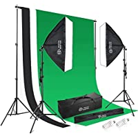 Photo Master Background Support System and 1350W 5500K Softbox Soft Box Continuous Lighting Kit 1.8m x 2.8m/5.9ft x 9.2ft White Black Green Muslin Cotton Chromakey Backdrop for Photo Studio Product
