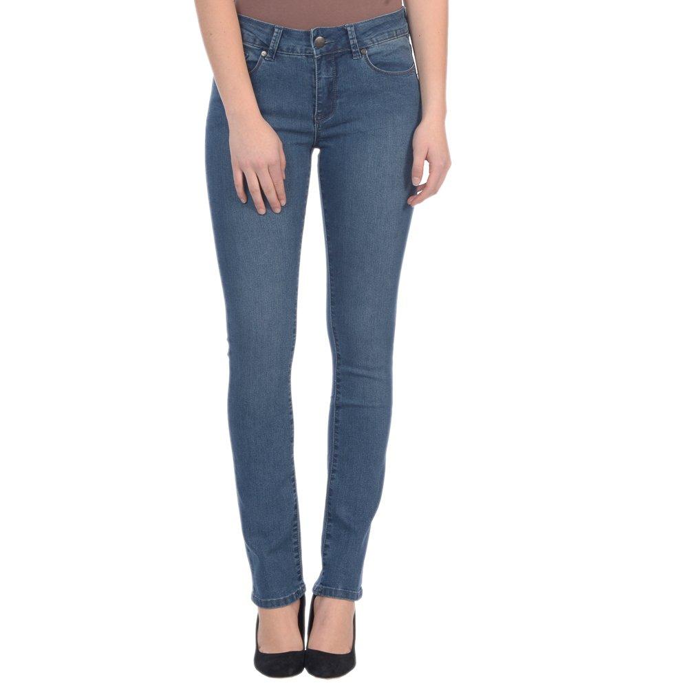 Midnight bluee Lola Jeans Women's Kristine Mid Rise 4Way Stretch Denim Straight Leg Jean