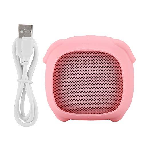 Hakeeta ミニスピーカー ワイヤレススピーカー ピンク かわいいペットデザイン ポータブル ベース Bluetooth接続 充電ケーブル付 屋内、スマホ向け