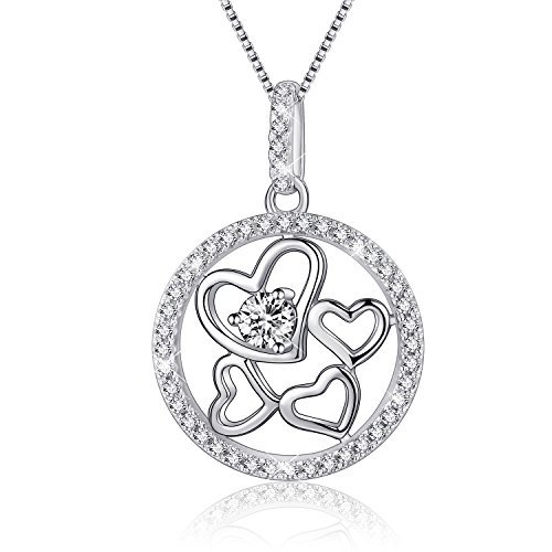 Four Heart - EURYNOME 925 Sterling Silver Circle Four Love Heart Pendant Necklace,18 inch Box Chain Jewelry for Women