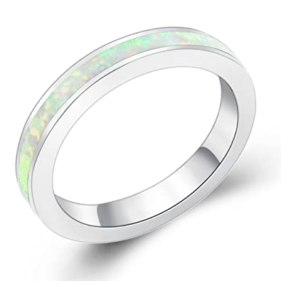 Opal Wedding Band.Sinlifu Eternity Ring Australia Fire Opal Silver Plated 3 5mm Wedding Band Jewelry For Women