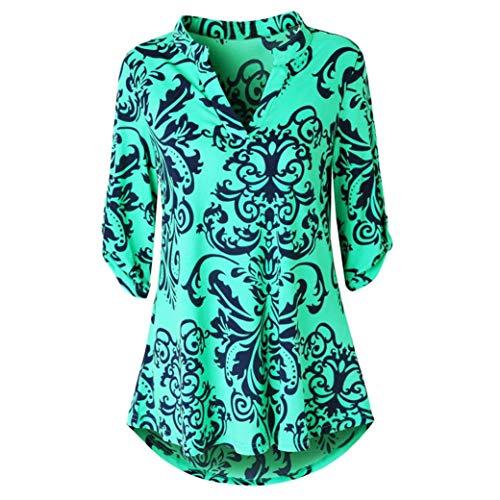 KIKOY Womens V-Neck 3/4 Sleeve VintageFloral Print Casual Soft Long Tunic Tops ()