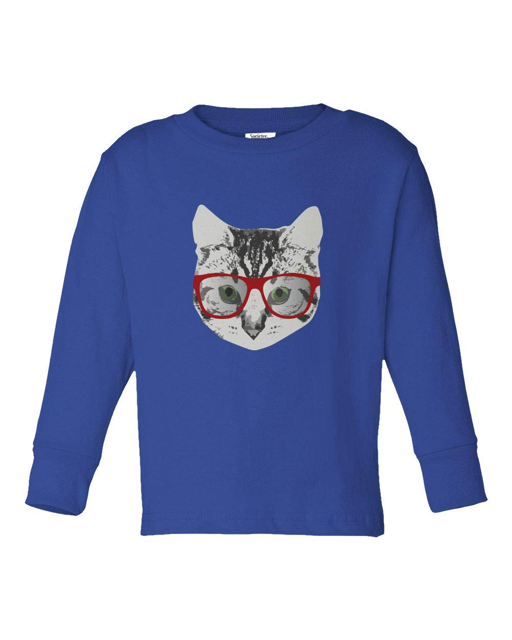 Red Linda Glasses Cat Funny Belcher Kitty Cute Humor Fun Youth & Toddler Long Sleeve Tee Shirt (Royal,3T) by Societee