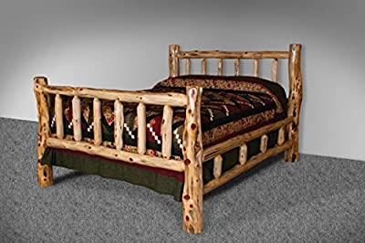 Rustic Red Cedar Log Mission Style Bed with Double Side Rail - Multiple Sizes- Amish Made USA