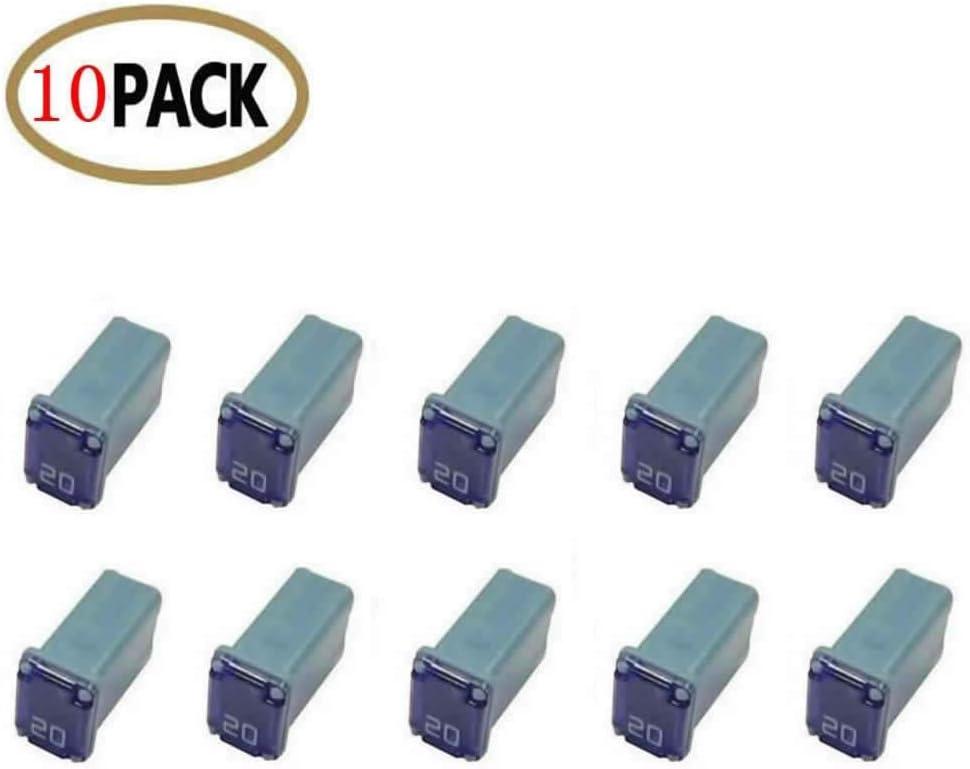 10 Pc Automotive MCASE Mini Box Shaped Cartridge Fuse Kit for Cars, Trucks, and SUVs (20 Amp)