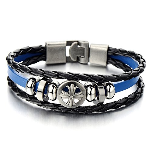 20cm-mens-cross-black-blue-braided-leather-bracelet-leather-wristband-wrap-bracelet