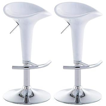 vidaXL 2X Taburetes de Bar Plástico Blanco Sillas Altas Comedor Cocina Barra