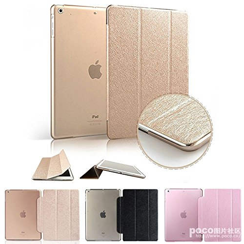 Aenmil For iPad Air 2 Case, iPad 6 Urtra Slim Super Light Weight Hard Smart Leather Case Cover for Apple iPad Air 2 iPad 6 with Auto Sleep/Wake Feature (Golden)