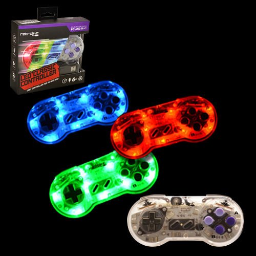 Video Game Accessories LED RetroLink SNES Style USB Controller for PC & Mac - Red/Green/Blue