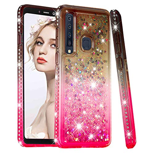 Glitter Liquid Case for Samsung Galaxy A9 2018,Moiky Luxury Creative Gradient Crystal Quicksand Floating Love Heart Diamond Design Shock Absorbing Soft Case for Samsung Galaxy A9 2018,Gray+Pink