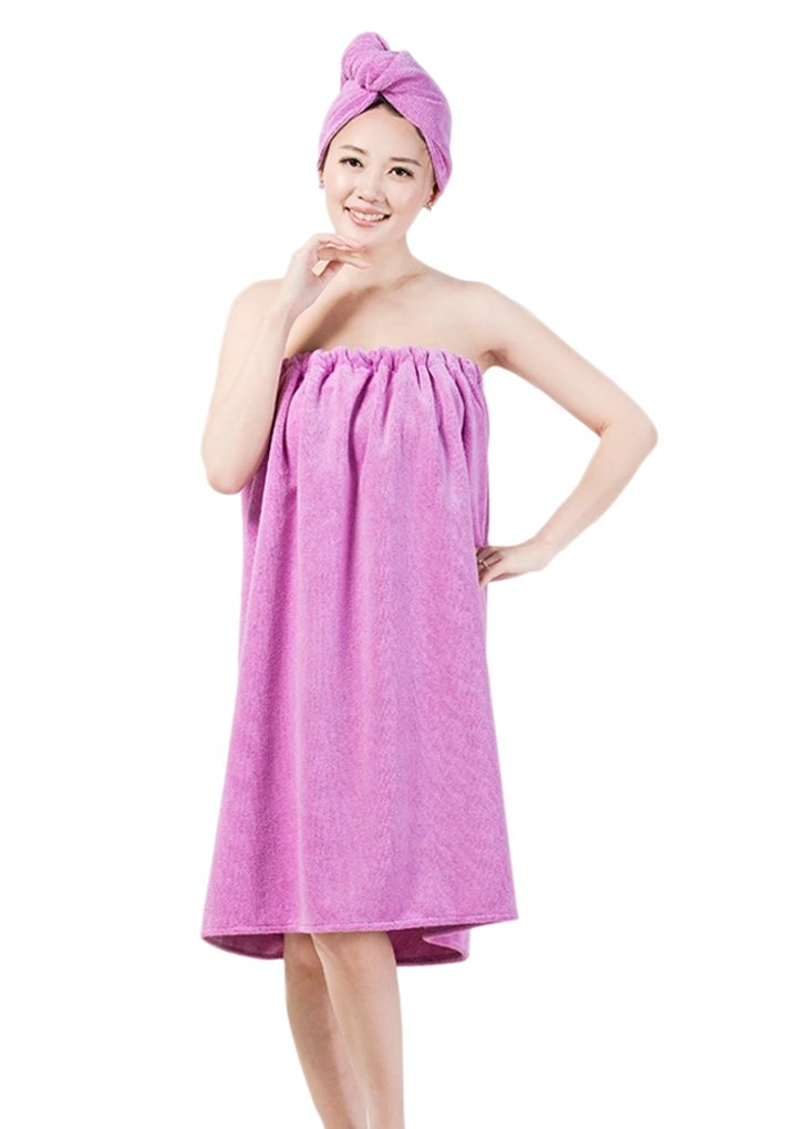 Women's Elastic Chest Cozy Bath Towel Dry Hair Hat Set Bathing Shower Wrap Beach Pool Swimming Shawl Bathing Suits Terry Bathrobe Spa Cover Up with Hair Drying Cap Dryer, Knee Length