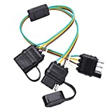 trailer harness adapter - MICTUNING Universal 4 Way Flat Y-Splitter Plug & Play Adapter Extension Harness for LED Tailgate Light Bar and Trailer Lights