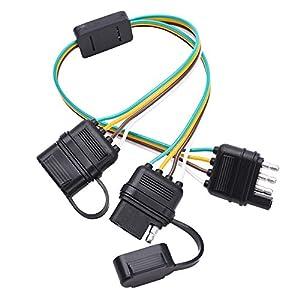 51fjRjlXX5L._SY300_ amazon com mictuning universal 4 way flat y splitter plug & play 4 Flat Trailer Wiring Diagram at reclaimingppi.co