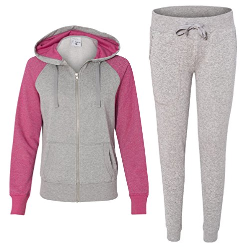 J. America Women's Glitter Sportswear Set, XX-Large, Wildberry/Oxford