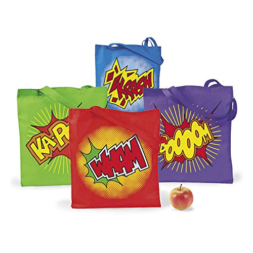 Super Hero Tote Bag - LARGE SUPER HERO TOTES (1 DOZEN) - BULK by Fun Express